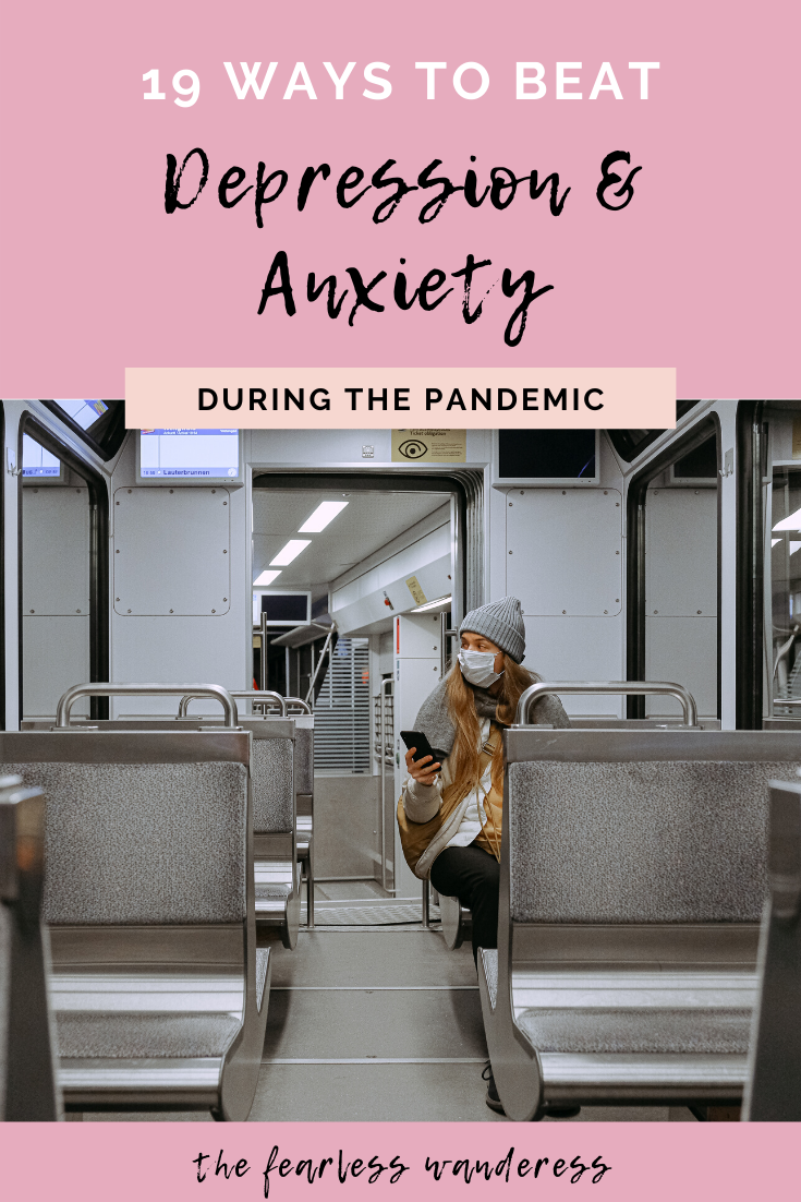 19 ways to beat depression and anxiety pinterest graphic 1 The Fearless Wanderess
